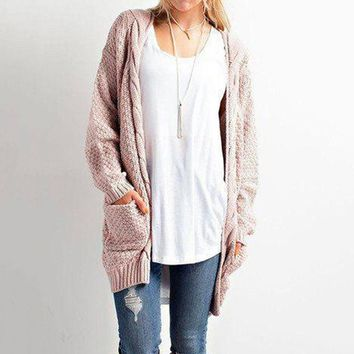 Winter With Pocket Ladies Twisted Cardigan [11275921607]