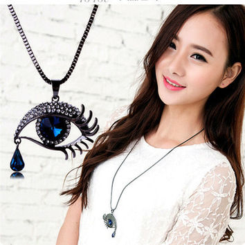 Brand New Crystal Blue Eyes Necklaces & Pendants Maxi Steampunk collares Vintage Tassel Statement Long Necklace