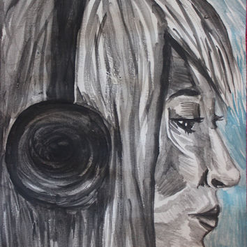 Music Lover - Portrait watercolor Painting - Girl Face & Headphones Traditional wall Art Music Earphones Fan Artwork - Watercolour painting