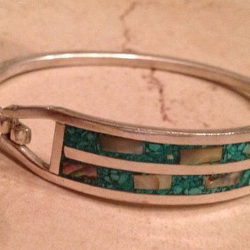 Vintage Mexican Bracelet Green Abalone Inlay Mexico Boho Jewelry