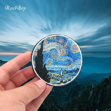 2pcs/lot Van Gogh Painting The Starry Night Embroidery Iron On Patches For Clothes DIY Accessory Applique Armband Stickers