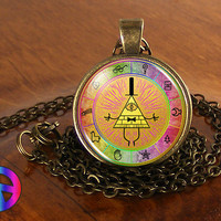 "Gravity Falls Bill Cipher Wheel ""Club Bill"" Necklace Pendant Charm Jewelry Gift"