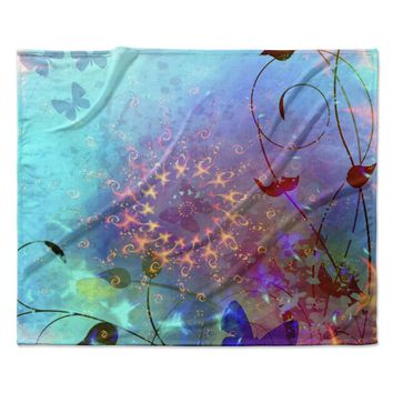 "AlyZen Moonshadow ""ILLUSION"" Teal Purple Fleece Throw Blanket"