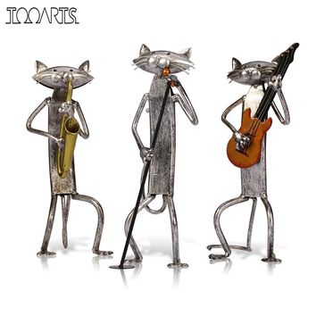 Tooarts Metal Figurine A Playing Guitar/Saxophone/Singing Cat Figurine Furnishing Articles Craft Gift For Home Decoration