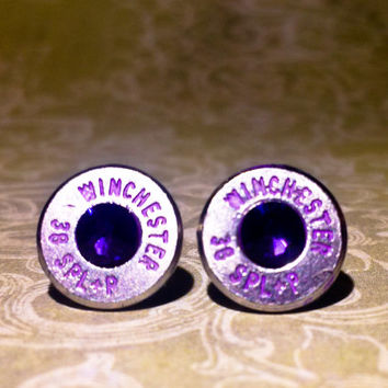Bullet Stud Earrings -Gunpowder and Glitz-Perfectly Purple Bullet Earrings