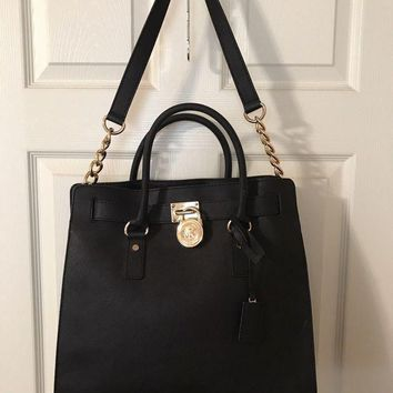 LMFON MICHAEL KORS HAMILTON LARGE NORTH/SOUTH TOTE PURSE BAG BLACK