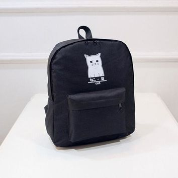 University College Backpack Fashion Cat Print  Style Casual  Women Girls Cute Cartoon  School Canvas Bags For TeenagerAT_63_4