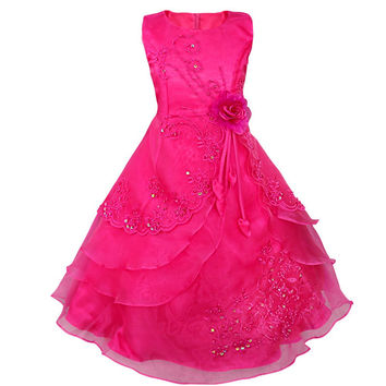 Little Girls Embroidered Hot Pink Flower Girl/Pageant Dress Gown with Sequine and Floral Detail 4T - 14Ye