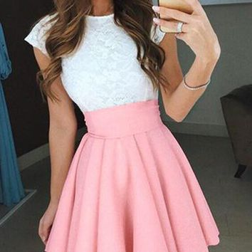 Women's Mini Skater Dress with Capped Sleeves