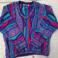 Vintage 90's Tundra Canada V-neck Colorful Sweater Coogi Style Bill Cosby Size Large 3D