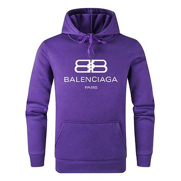 BALENCIAGA Autumn Winter Popular Casual Print Cotton Sweatshirt Hoodie Sweater Pullover Top Purple