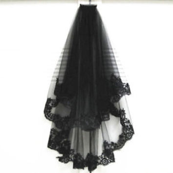 2T Double Tiered Elbow Length Short Blacl Wedding Bridal Veil with Comb