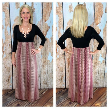 Ultimate 3/4 Sleeve Chevron Dress