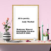 All is pretty, Andy Warhol Poster Quote, Typography Modern Style Art Print,Scandinavian Wall Art, Instant Download, Home Decor, Quote Print