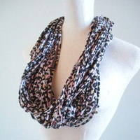 Leopard Print Infinity Scarf Upcycled Animal Print Chunky Circle Scarf Gifts Under 75 Winter Accessories Black Friday Etsy Cyber Monday Etsy