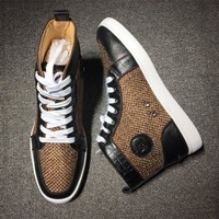 Christian Louboutin CL Mid Style #2124 Sneakers Fashion Shoes Best Deal Online