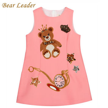 Bear Leader Girls Dress 2016 Brand Princess Dresses Girls Clothes Sleeveless Pink Little Bear Pattern Print for Kids Dress 3-8Y