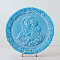 Fenton Mother Day 1972 Blue Marble Collector Plate