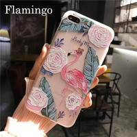 USA Clear 3D Unicorn Flamingo Flower Phone Case Cover For Apple iPhone 6 7 plus