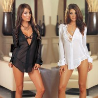 Womens Pretty Transparent Beautiful Nightgown Lingerie