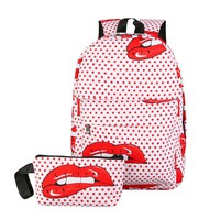 2Pcs Candy Color Printing Backpack Women Nylon Travel Red Lip Design Ladies School Bags for Teenager Girls	Mochila Escolar