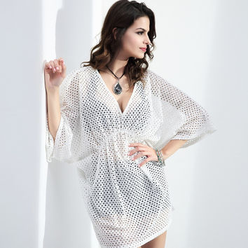 Lace bat shirt bat sleeves XXXL beach blouse [9935652236]