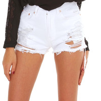 Re-united Distressed Denim Shorts - White