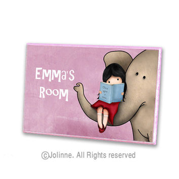 Personalized children door sign, custom kids art, Girl reading with elephant, pink door plaque for kids room