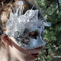 Silver Masquerade Ball Mask White masquerade mask white bridal mask Halloween angel mask fairy mask prom mardi gras mask Ready to ship STELA