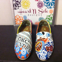 Oklahoma Basketball Toms  Let's go Thunder by HeartNSoleDesigns