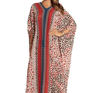 Printed Chiffon Kaftan Beach Cover Up Dress