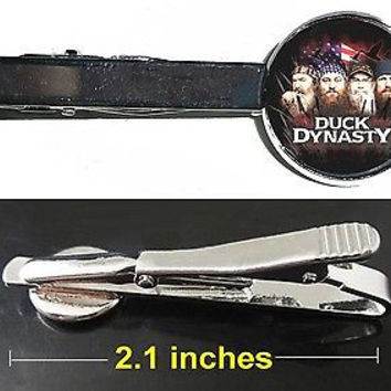 Duck Dynasty Tie Clip Clasp Bar Slide Silver Metal Shiny