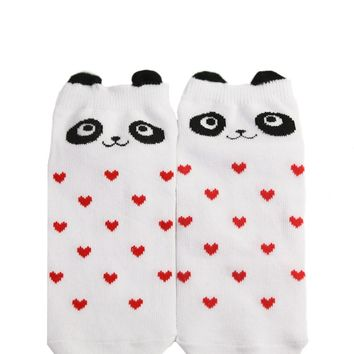 Cat & Heart Print Ankle Socks