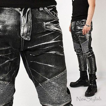 New Mens Fashion Super-unique & Stylish Ice Wash Denim Black Biker Jeans Pants