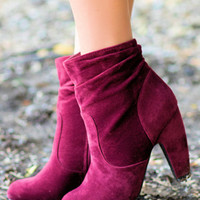 'Fur' the Love Booties-Burgundy