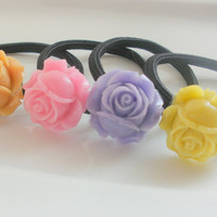 Spring Roses hair accessories set lot of 3 ponytails hairbands gift for her under 20 pink purple orange yellow pastels