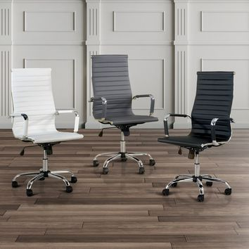 Furniture of America Kimmel Ribbed High Back Office Chair | Overstock.com Shopping - The Best Deals on Office Chairs