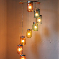 Rainbow Bright Mason Jar Chandelier - Mason Jar Lighting - Spiral Swag Lamp - Handcrafted Upcycled BootsNGus Hanging Pendant Light Fixture