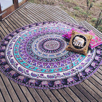 Specical Round Indian Elephant Towel Scarve Fashion Mandala Tapestry Beach Picnic Throw Rug Blanket Polyester Cotton Beach Towel