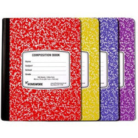 ASSORTED COLORED MARBLE COMPOSTION BOOK