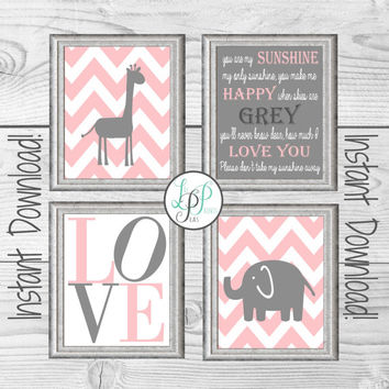 Pink and Grey Nursery Decor, Giraffe Nursery Wall Art, Elephant Nursery Print, You Are My Sunshine Print, Pink and Grey Baby Gift, New Baby