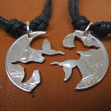 Flying Ducks, interlocking love quarter, hand cut coin, friendship necklace, puzzle.