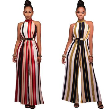 Jumpsuits Rompers Women 2017 Summer Autumn Hot stripe Red Yellow bind wide-legged jumpsuits