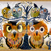Owl witch family digital download Baby owl digital printable Nursery wall art /Bird download /Owl digital download