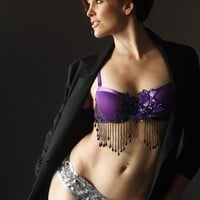 Purple Burlesque Bra sequins beads by TheLalasBurlesque on Etsy
