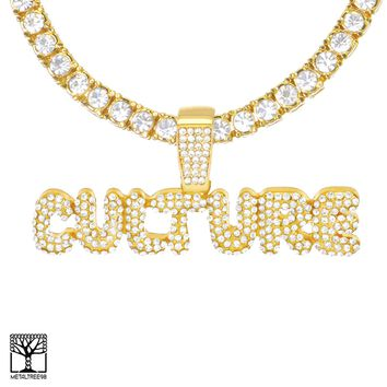 Jewelry Kay style Iced CZ Bubble CULTURE Sign Gold Plated Pendant Tennis Chain Necklace THC 3502 G