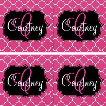 MONOGRAMMED Name Clover Petal Set of Four Tile Coasters - Personalized - Monogrammed Coasters - Drink Coasters