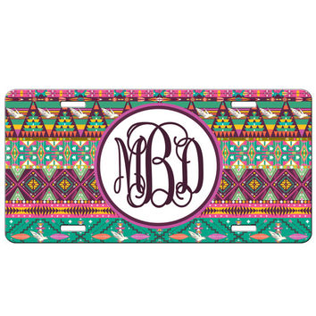 Personalized Monogrammed License Plate Car Tag, Monogram License Plate, Personalized License Plate, Monogram Car Tag - Hipster Aztec