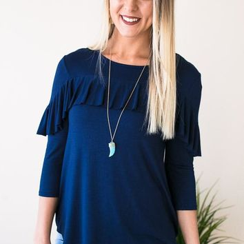 For Now Ruffle Top - Navy