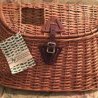 Wicker Creel Basket, Fishing Basket, Fly fishing Gear, Hand woven Basket, Split Willow Creel, Trout Basket, Rust Free Buckle, Leather Strap